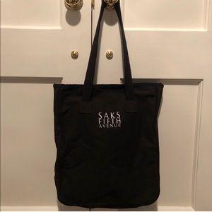 Saks Fifth Avenue Black Canvas Tote Bag